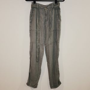 American Eagle Olive Green Cargo Belted Pants
